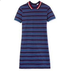 Lacoste Contrast Striped Pique Polo Dress 36 NWOT